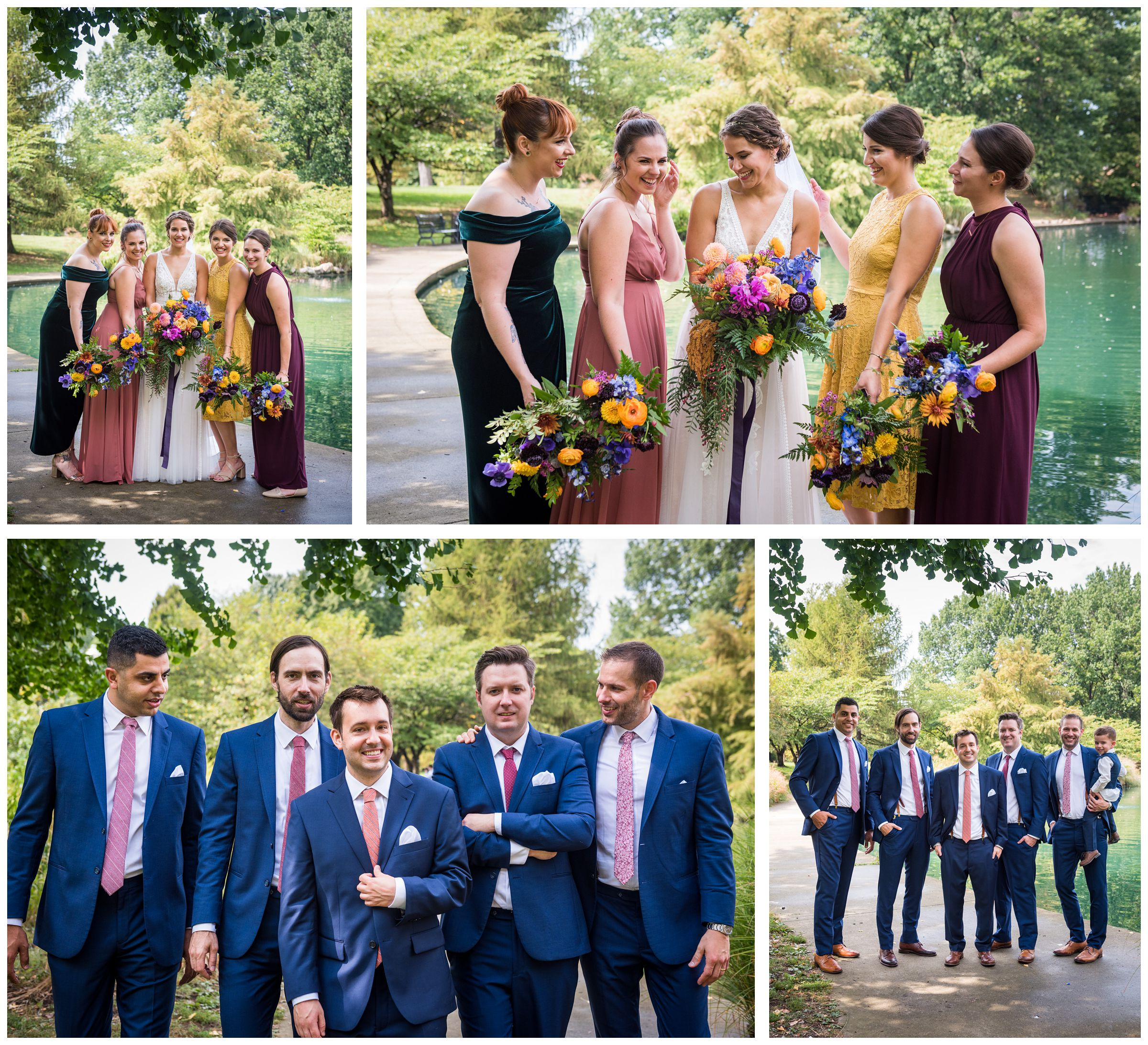 bridesmaids in fall colored dresses and groomsmen in blue suits with red ties during wedding photos at Goodale Park Columbus
