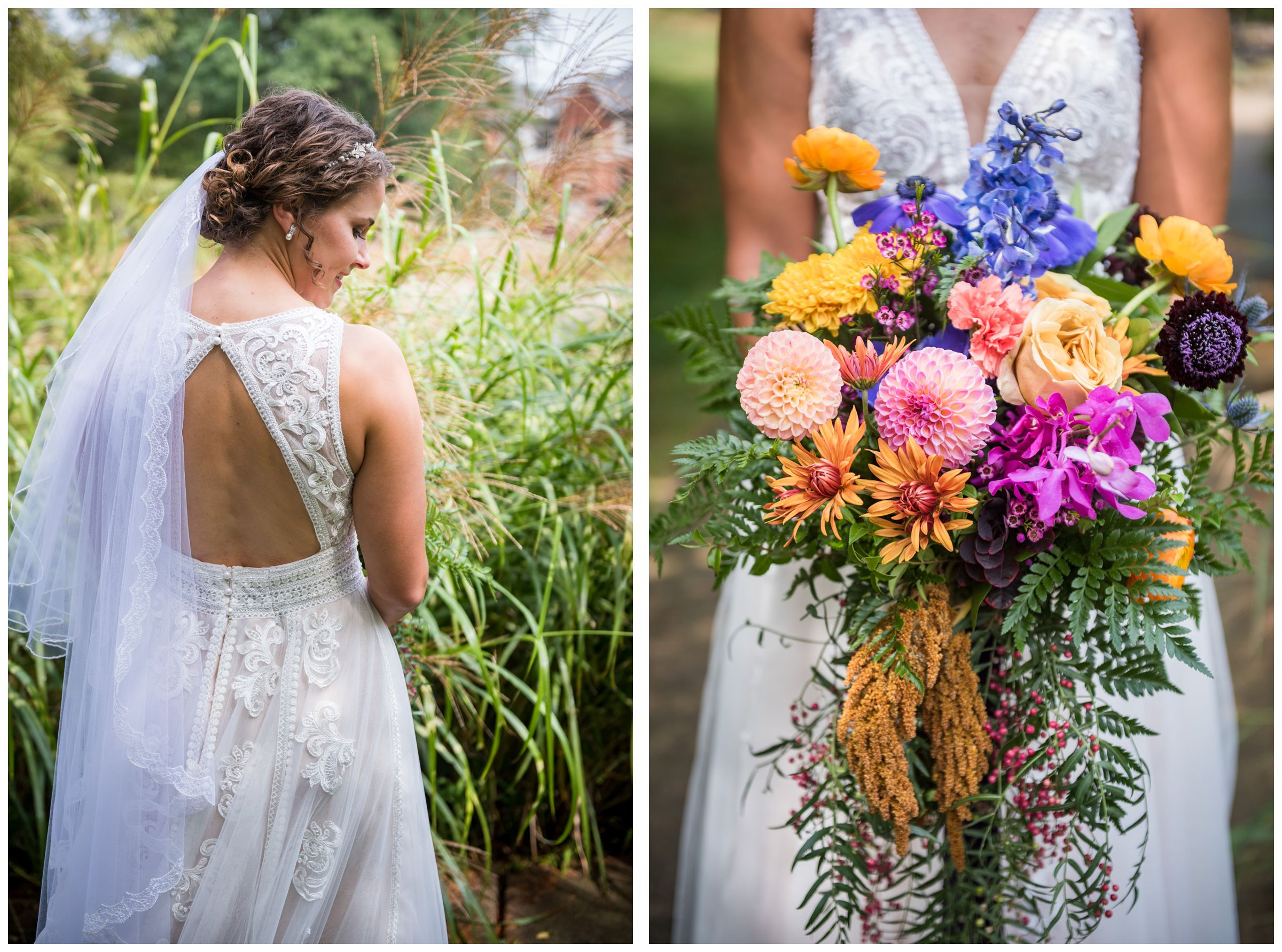 bride with open back lace wedding dress and jewel-toned colorful bouquet