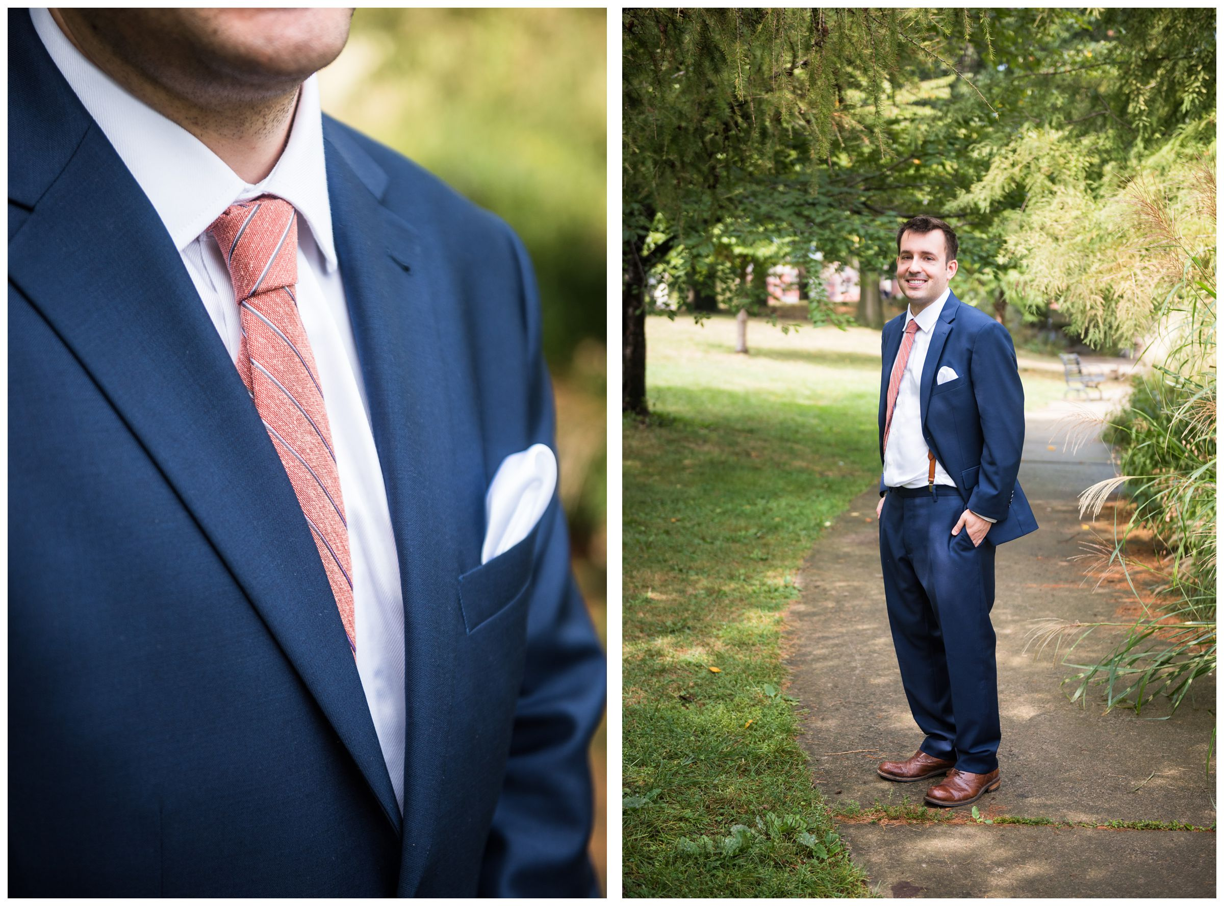 groom wearing navy blue suit, suspenders, brown shoes, and coral red tie on wedding day