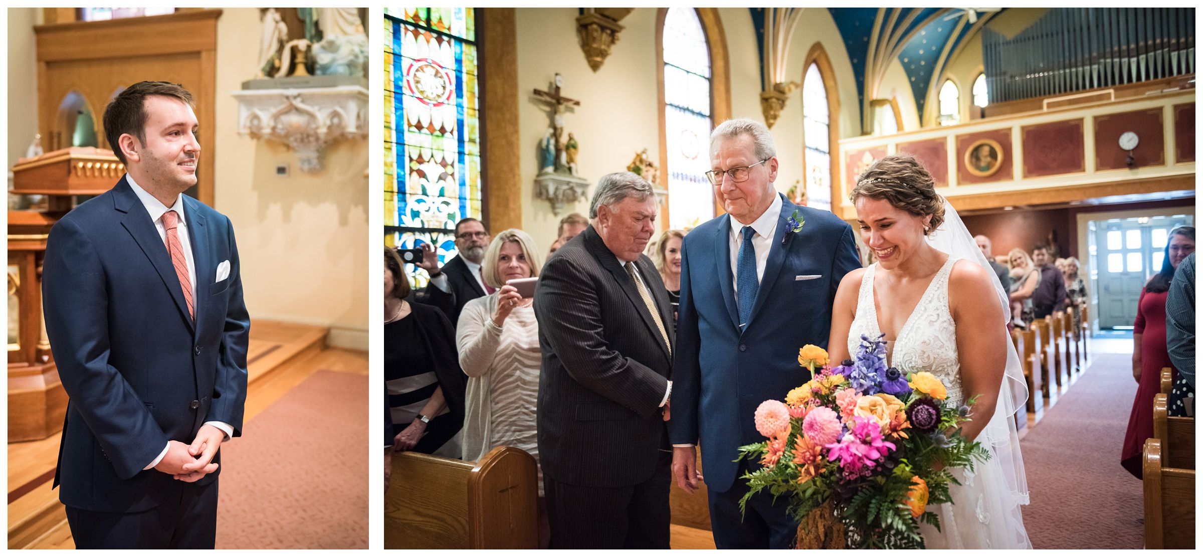 bride walking down the aisle and groom's reaction during wedding ceremony at St. John the Baptist Catholic Church in Columbus, Ohio
