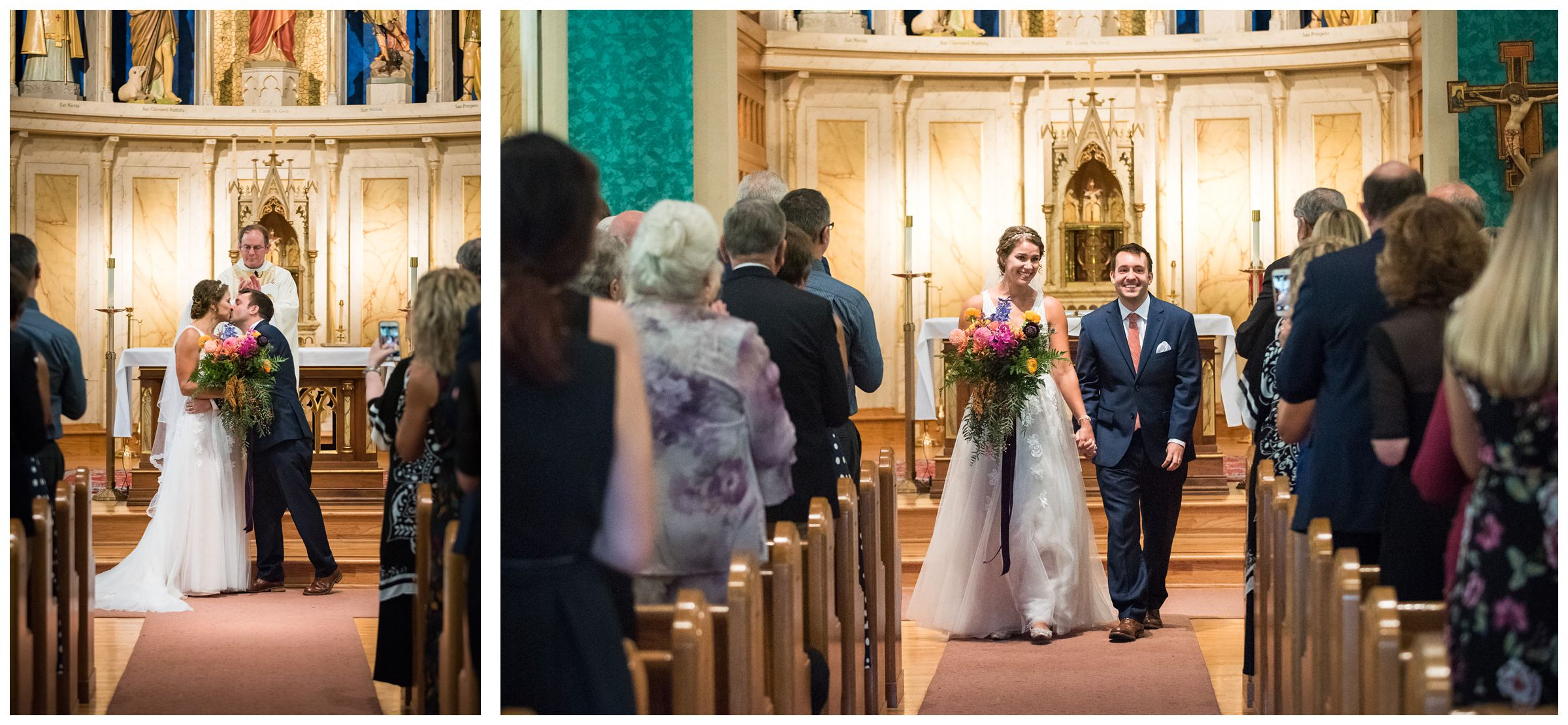 indoor wedding ceremony first kiss and recessional at St. John the Baptist Catholic Church in the Short North in Columbus, Ohio