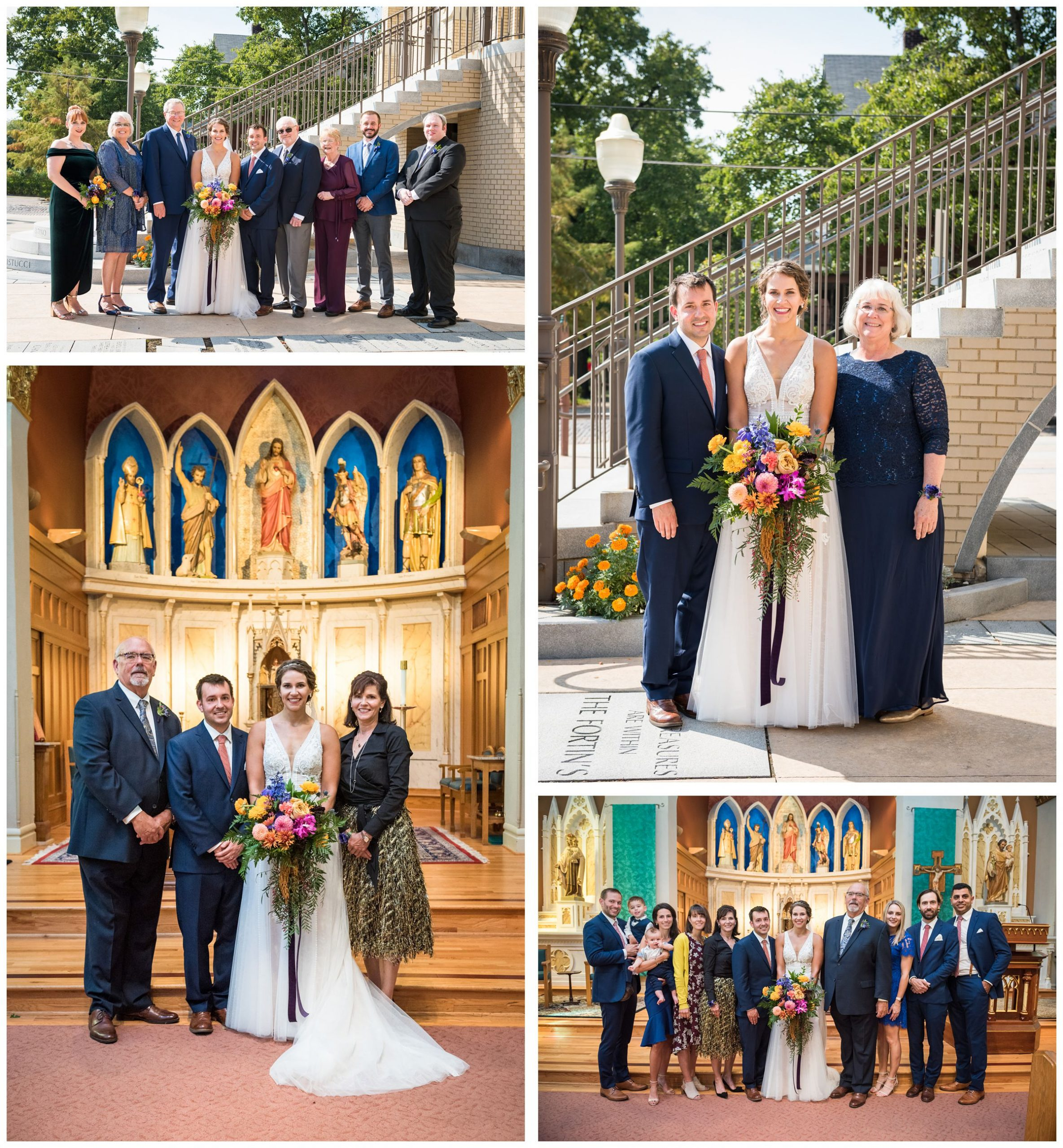 family portraits after wedding ceremony at St. John the Baptist Catholic Church in downtown Columbus, Ohio