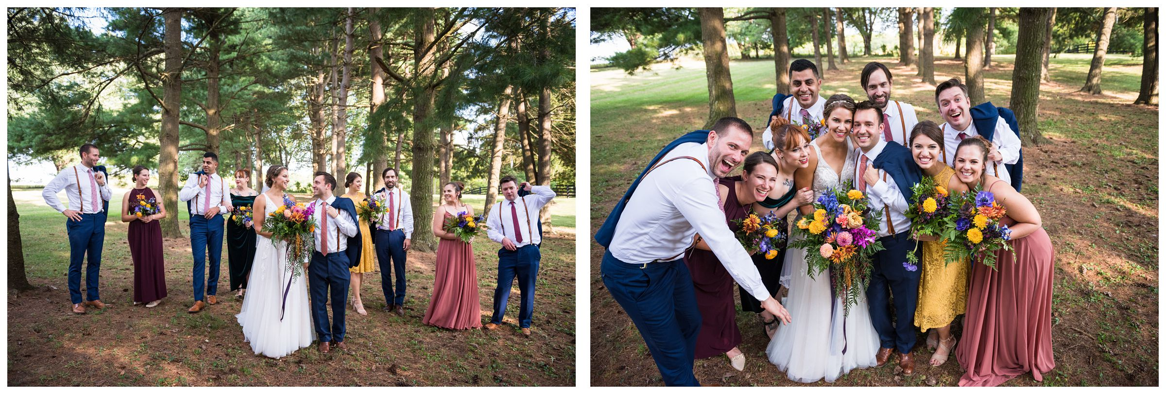 wedding party in fall colors under pine tree forest during rustic farm wedding in Lancaster, Ohio