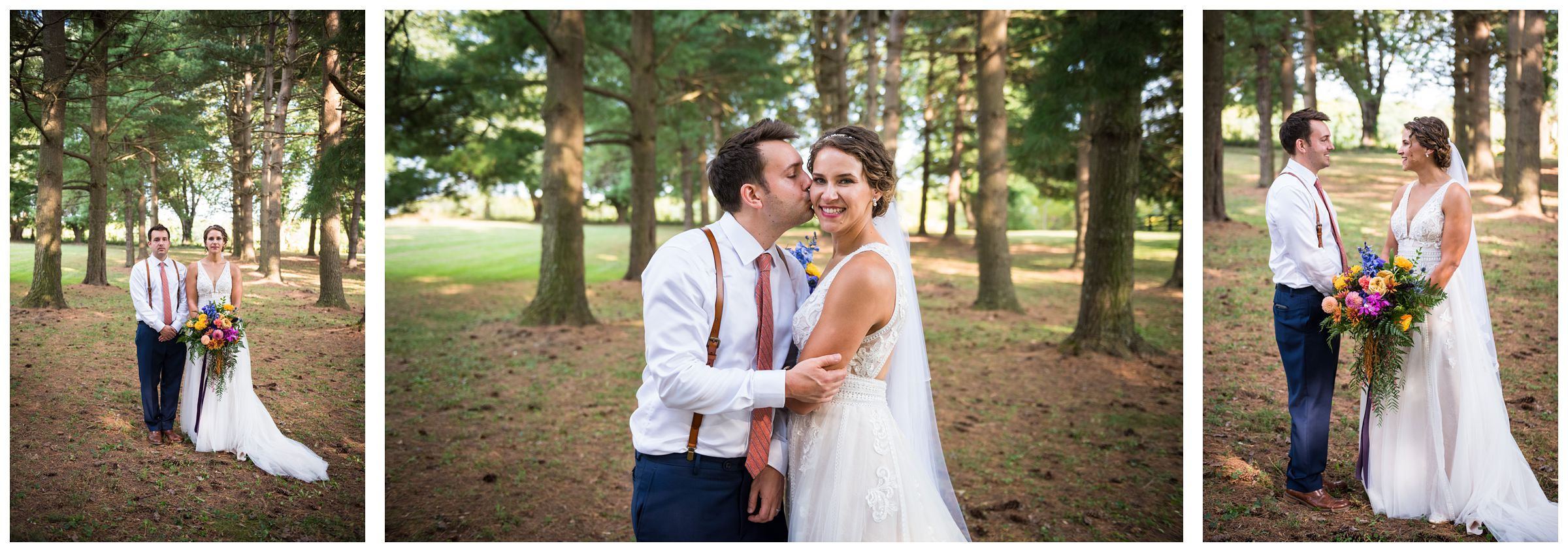bride and groom wedding photos under pine tree forest during rustic Lancaster barn wedding