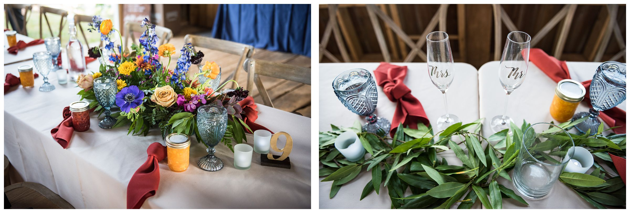 rustic Lancaster barn wedding reception with greenery and fall colors at family farm in central Ohio