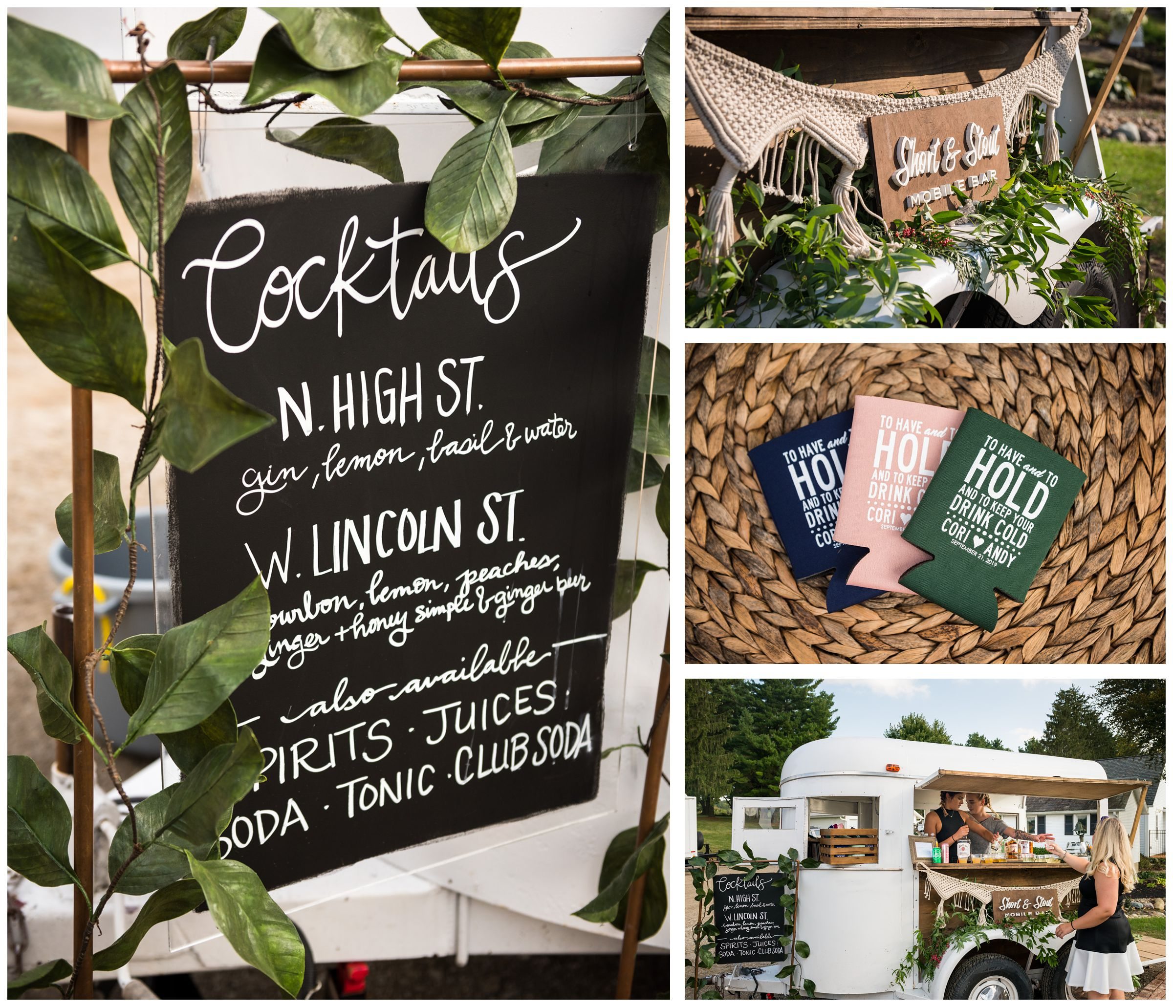 Short & Stout Mobile Bar providing beverages for rustic Lancaster barn wedding at family farm in central Ohio