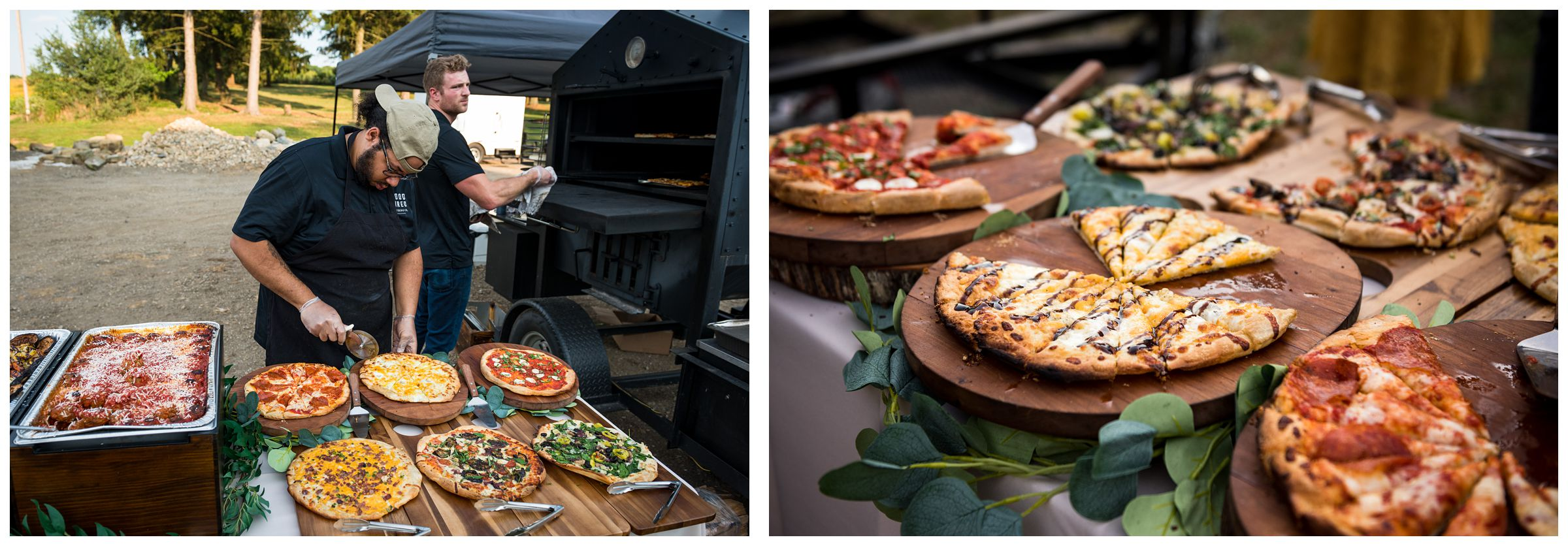 Short prowood fired pizza catering at rustic Lancaster barn wedding at family farm in central Ohio