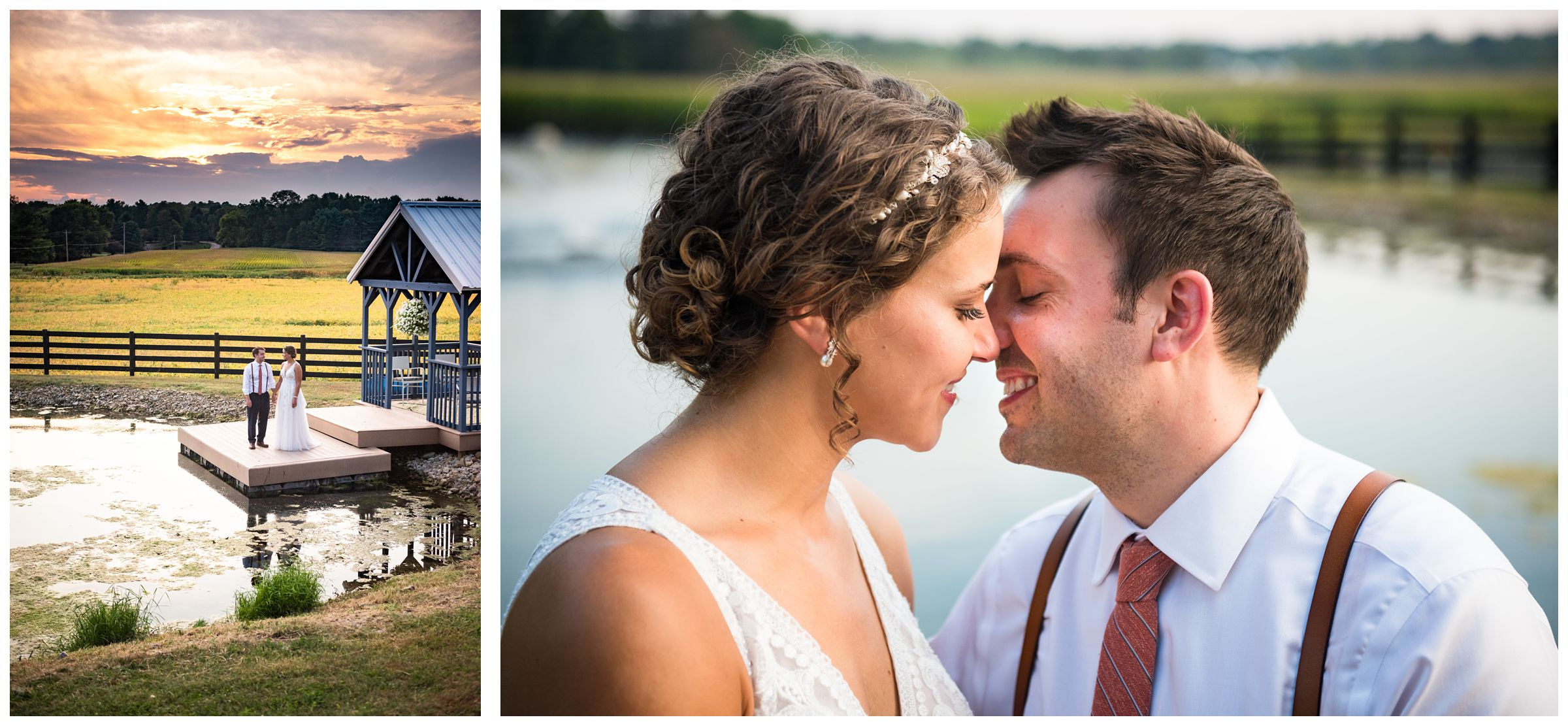 wedding portraits at sunset by pond during rustic barn wedding captured by Columbus Ohio wedding photographer