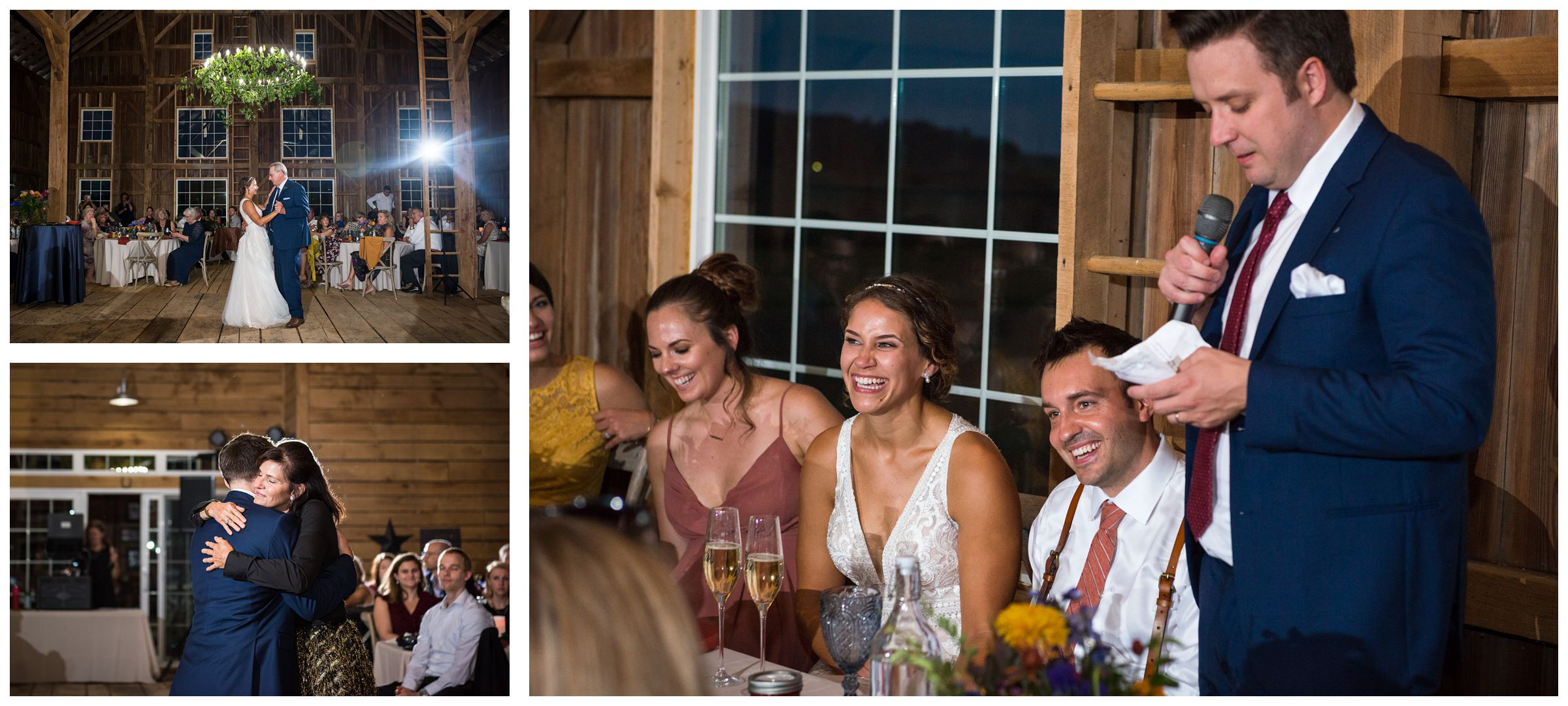 dancing and toasts during rustic Lancaster barn wedding at family farm in central Ohio
