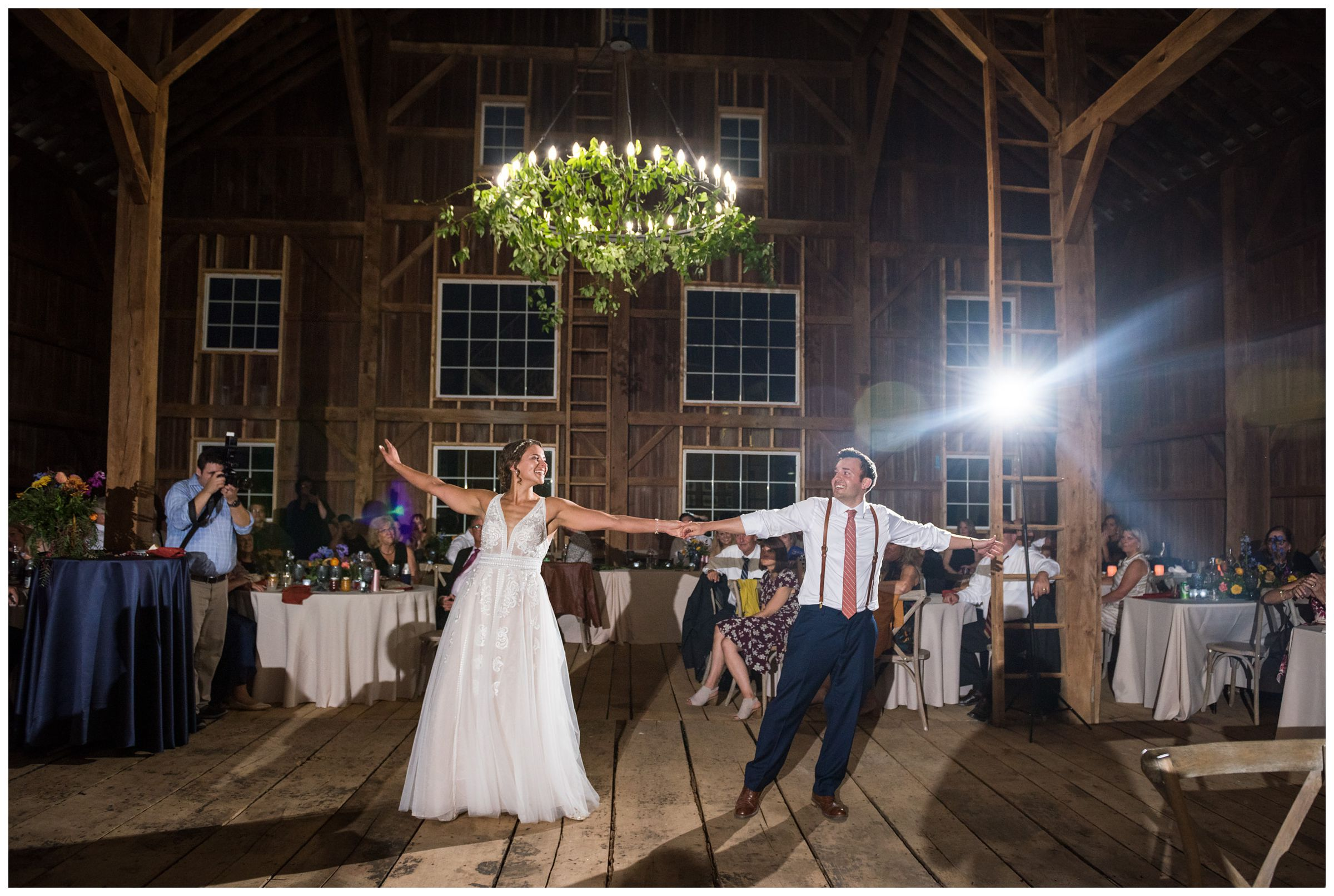 bride and groom sharing their first dance during rustic barn wedding in Lancaster Ohio
