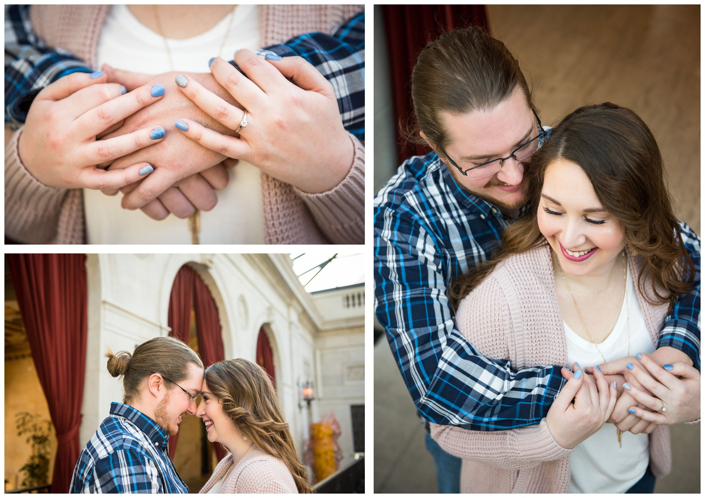 couple embracing during indoor photo session