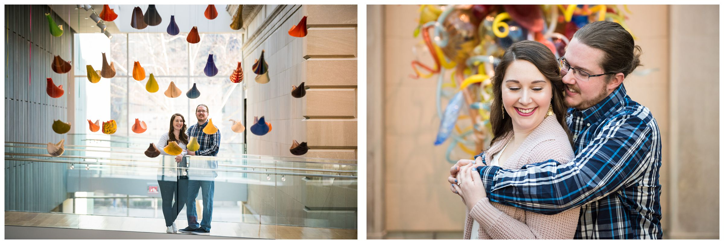 Engagement photo session in front of colorful glass Chihuly sculptures at the Columbus Museum of Art